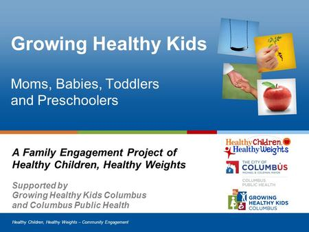 Healthy Children, Healthy Weights – Community Engagement Growing Healthy Kids Moms, Babies, Toddlers and Preschoolers A Family Engagement Project of Healthy.