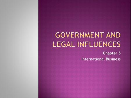 Chapter 5 International Business.  Government and International Business  Government policies and regulations affect all aspects of importing and exporting.