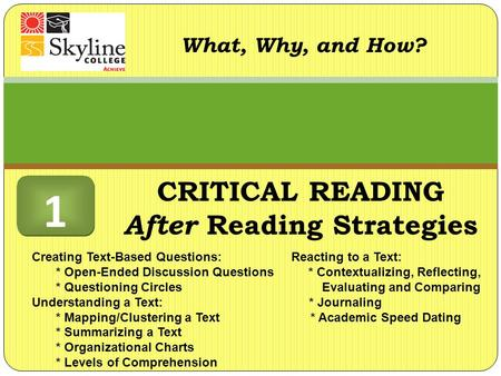 CRITICAL READING After Reading Strategies