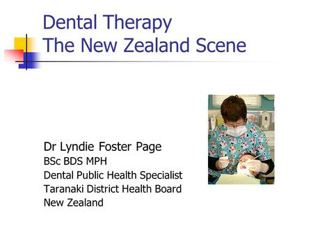 Dental Therapy The New Zealand Scene
