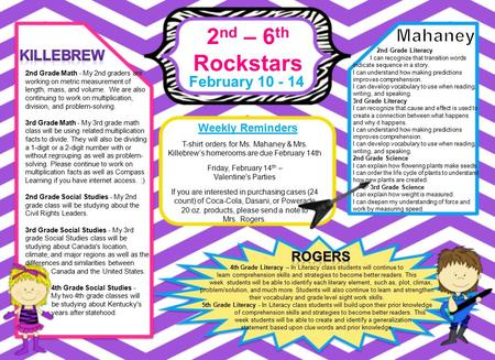 2 nd – 6 th Rockstars February 10 - 14 Weekly Reminders 4th Grade Literacy – In Literacy class students will continue to learn comprehension skills and.