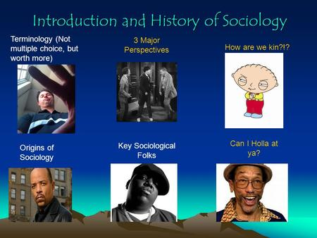 Introduction and History of Sociology Terminology (Not multiple choice, but worth more) Key Sociological Folks How are we kin?!? Can I Holla at ya? 3.