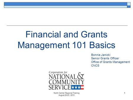 Financial and Grants Management 101 Basics