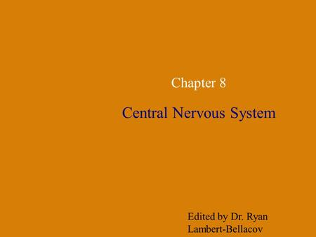Chapter 8 Central Nervous System Edited by Dr. Ryan Lambert-Bellacov.