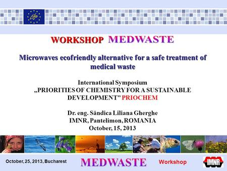 "October, 25, 2013, Bucharest WORKSHOP WORKSHOP Microwaves ecofriendly alternative for a safe treatment of medical waste International Symposium ""PRIORITIES."