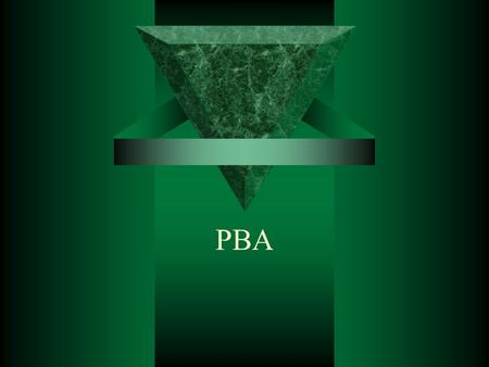 PBA. Observations  Growth, projects, busy-ness –Doing an incredible amount of work  Great Quality of work  Concern about being perfect  Attitudes.