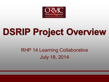 RHP 14 Learning Collaborative July 18, 2014. DSRIP Project Overview  Key project areas at Odessa Regional Medical Center Speech Pathology Diabetes Education.