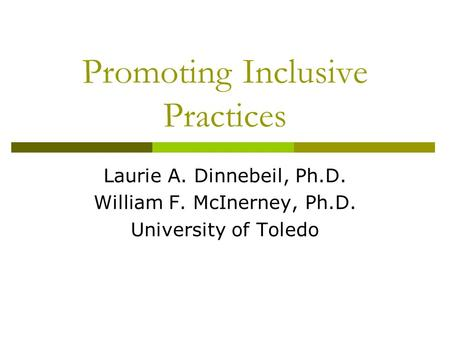 Promoting Inclusive Practices