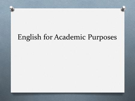 Academic English Courses