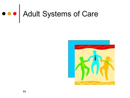 94 Adult Systems of Care. 95 General Healthcare for Adults There are fewer healthcare programs for adults than for children Most are for adults with disabilities.