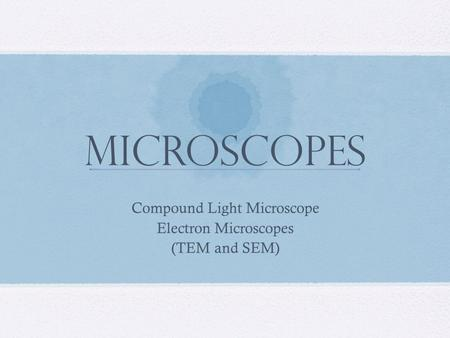 Microscopes Compound Light Microscope Electron Microscopes (TEM and SEM)