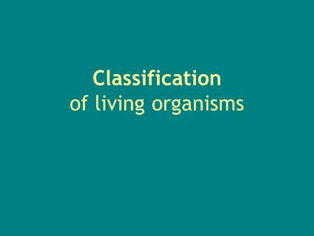 Classification of living organisms The Kingdoms All living things are divided into 5 kingdoms: 1.Prokaryotes - Single celled organisms.