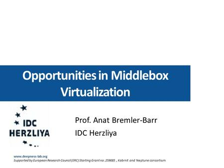 Opportunities in Middlebox Virtualization Prof. Anat Bremler-Barr IDC Herzliya www.deepness-lab.org Supported by European Research Council (ERC) Starting.