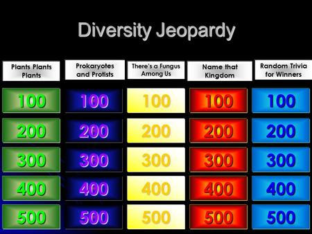 Diversity Jeopardy Plants Plants Plants Prokaryotes and Protists There's a Fungus Among Us Name that Kingdom Random Trivia for Winners 100 200 300 400.