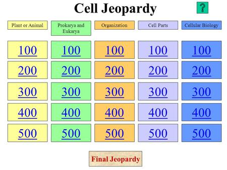 Cell Jeopardy 100 200 300 400 500 100 200 300 400 500 100 200 300 400 500 100 200 300 400 500 100 200 300 400 500 Plant or AnimalProkarya and Eukarya.
