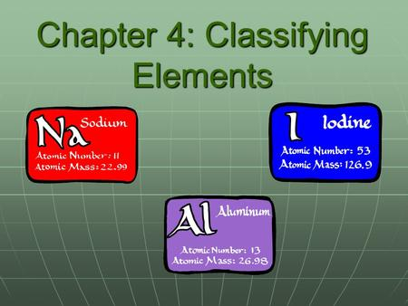 Chapter 4: Classifying Elements