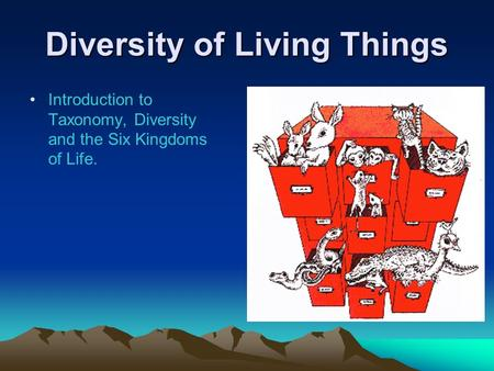 Diversity of Living Things Introduction to Taxonomy, Diversity and the Six Kingdoms of Life.