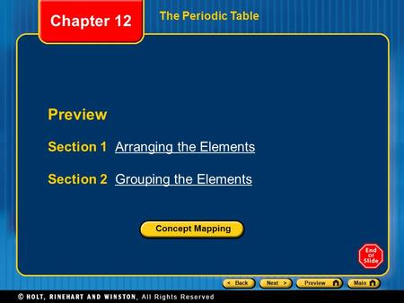 Chapter 12 Preview Section 1 Arranging the Elements