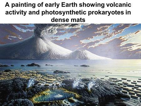 A painting of early Earth showing volcanic activity and photosynthetic prokaryotes in dense mats.