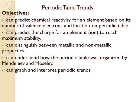 Periodic table trends objectives ppt download periodic table trends periodic table trends objectives i can predict chemical reactivity for an element urtaz Image collections