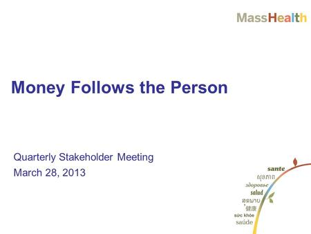 Quarterly Stakeholder Meeting March 28, 2013 Money Follows the Person.