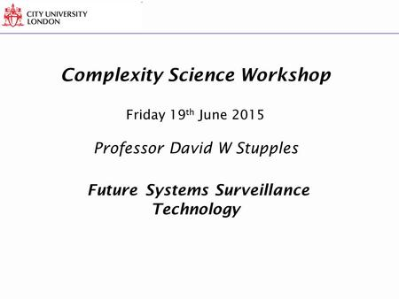 Complexity Science Workshop