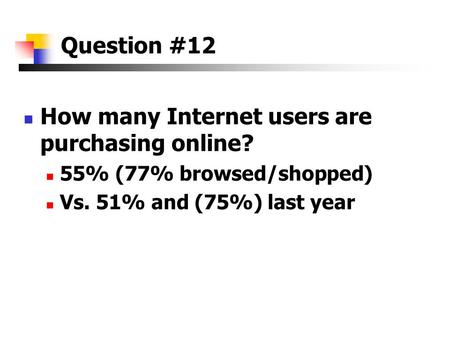 Question #12 How many Internet users are purchasing online? 55% (77% browsed/shopped) Vs. 51% and (75%) last year.