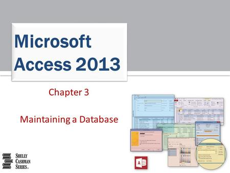Chapter 3 Maintaining a Database Microsoft Access 2013.