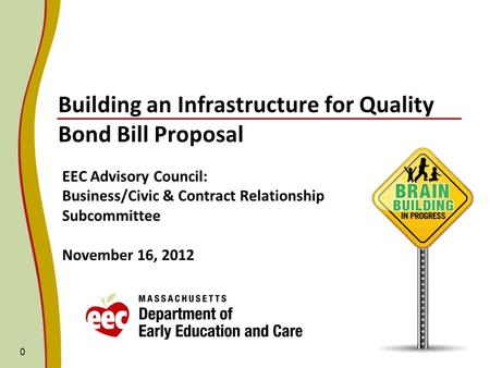 0 Building an Infrastructure for Quality Bond Bill Proposal EEC Advisory Council: Business/Civic & Contract Relationship Subcommittee November 16, 2012.