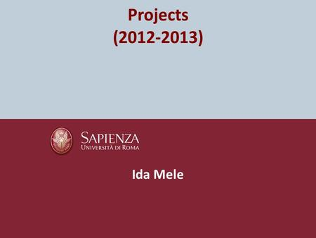 Projects (2012-2013) Ida Mele. Rules Students have to work in teams (max 2 people). The project has to be delivered by the deadline that will be published.