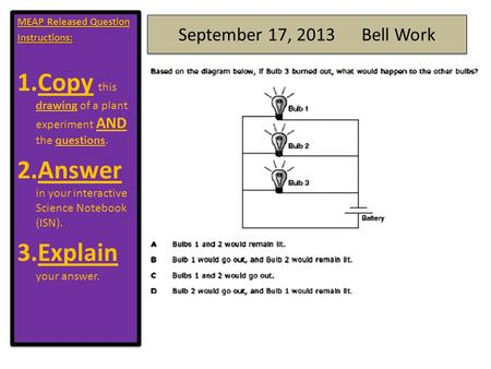 September 17, 2013 Bell Work MEAP Released Question Instructions: 1.Copy this drawing of a plant experiment AND the questions. 2.Answer in your interactive.