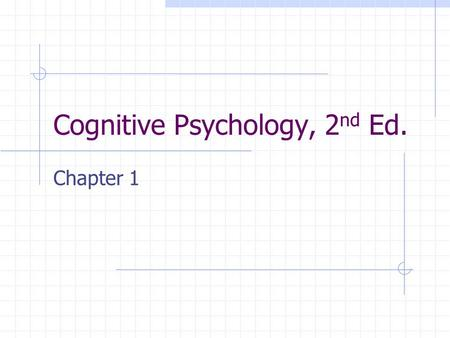 Cognitive Psychology, 2 nd Ed. Chapter 1. Defining Cognitive Psychology The study of human mental processes and their role in thinking, feeling, and behaving.