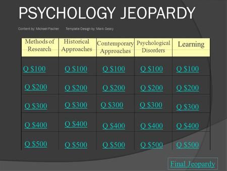Methods of Research Historical Approaches Contemporary Approaches Psychological Disorders Learning Q $100 Q $200 Q $300 Q $400 Q $500 Q $100 Q $200 Q.