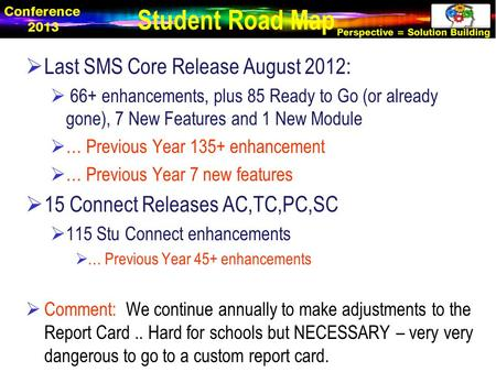  Last SMS Core Release August 2012:  66+ enhancements, plus 85 Ready to Go (or already gone), 7 New Features and 1 New Module  … Previous Year 135+