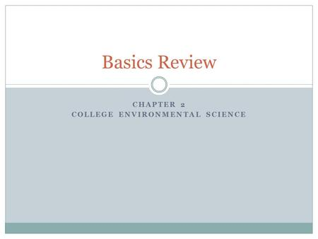 CHAPTER 2 COLLEGE ENVIRONMENTAL SCIENCE Basics Review.