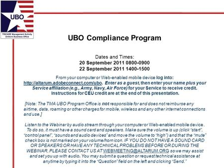 UBO Compliance Program From your computer or Web-enabled mobile device log into:  Enter as a guest, then enter your.