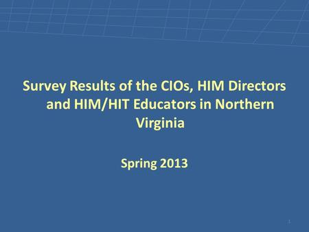 Survey Results of the CIOs, HIM Directors and HIM/HIT Educators in Northern Virginia Spring 2013 1.