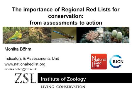 Monika Böhm Indicators & Assessments Unit  The importance of Regional Red Lists for conservation: from assessments.