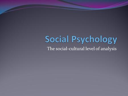 The social-cultural level of analysis