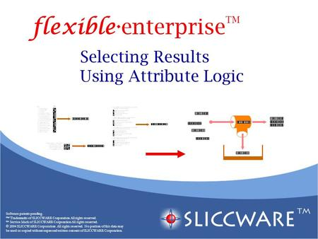 Selecting Results Using Attribute Logic Software patents pending. ™ Trademarks of SLICCWARE Corporation All rights reserved. SM Service Mark of SLICCWARE.