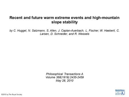 Recent and future warm extreme events and high-mountain slope stability by C. Huggel, N. Salzmann, S. Allen, J. Caplan-Auerbach, L. Fischer, W. Haeberli,