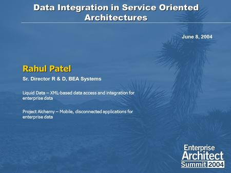 Data Integration in Service Oriented Architectures Rahul Patel Sr. Director R & D, BEA Systems Liquid Data – XML-based data access and integration for.