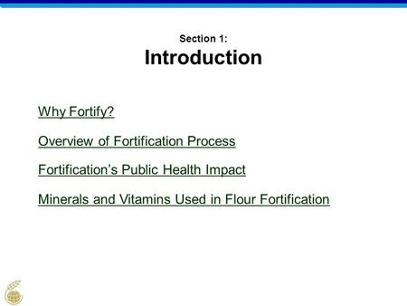 Section 1: Introduction Why Fortify? Overview of Fortification Process Fortification's Public Health Impact Minerals and Vitamins Used in Flour Fortification.