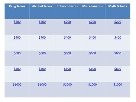 Drug TermsAlcohol TermsTobacco TermsMiscellaneousMyth & Facts $200 $400 $600 $800 $1000.