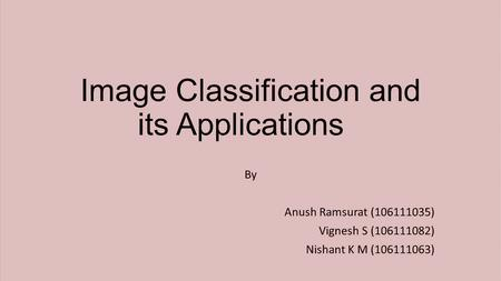 Image Classification and its Applications