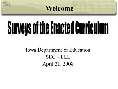 Iowa Department of Education SEC – ELL April 21, 2008 Welcome.