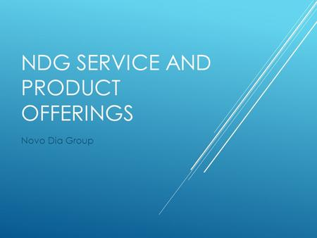 NDG SERVICE AND PRODUCT OFFERINGS Novo Dia Group.