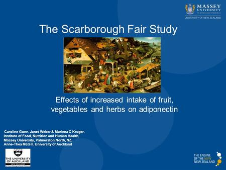 The Scarborough Fair Study Effects of increased intake of fruit, vegetables and herbs on adiponectin Caroline Gunn, Janet Weber & Marlena C Kruger. Institute.
