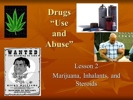 "Drugs ""Use and Abuse"" Lesson 2 Marijuana, Inhalants, and Steroids."