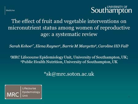 The effect of fruit and vegetable interventions on micronutrient status among women of reproductive age: a systematic review Sarah Kehoe 1*, Elena Rayner.